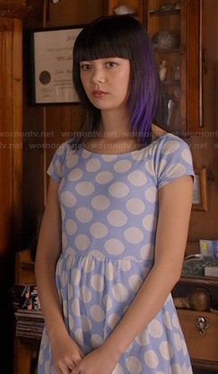 Grace's blue polka dot dress on Camp