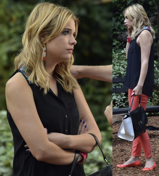 Hanna's black top with colorful collar on PLL
