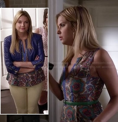Hanna's floral split neck peplum top and blue cropped leather jacket on Pretty Little Liars