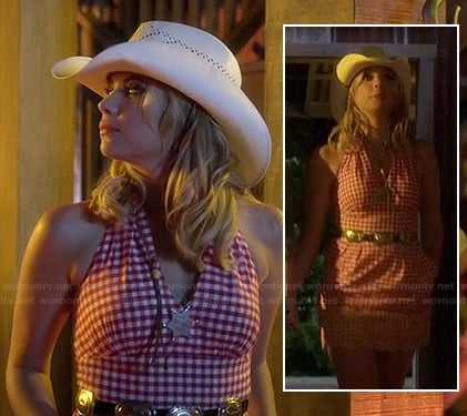 Hanna's red checkered western halter dress on Pretty Little Liars