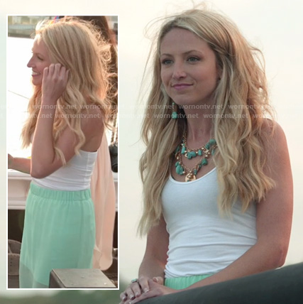Jackie's mint green sheer maxi skirt on The Vineyard