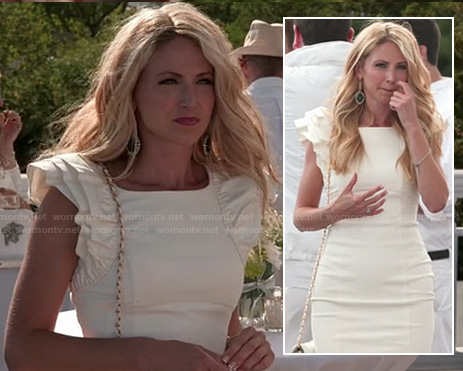 Jackie's white ruffled sleeve dress on The Vineyard