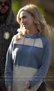 Jenna's blue mesh hoodie on Wilfred