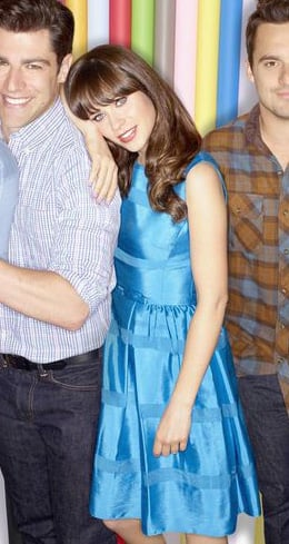 Jess's shiny blue dress on New Girl Season 3 Promos