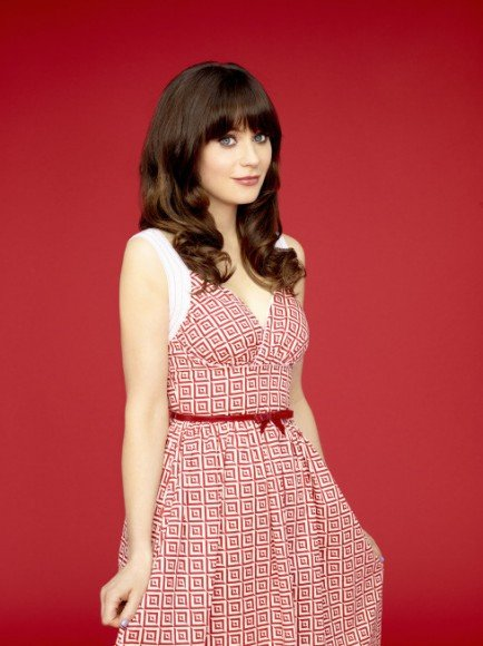 Jess's red and white printed dress on New Girl Season 3 Posters