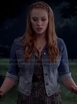 Jessica's black and white maxi dress and ombre denim jacket on True Blood