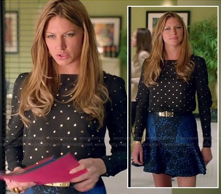 Josslyn's black studded blouse and blue ruffle hem skirt on Mistresses