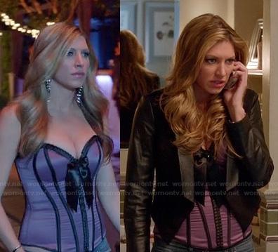 Josslyn's purple corset and leather jacket on Mistresses