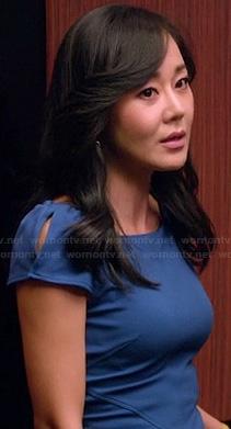 Karens blue cap sleeve dress on Mistresses