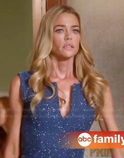 Karen's blue tweed split neck dress on Twisted