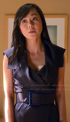 Karen's navy blue belted blazer style dress on Mistresses