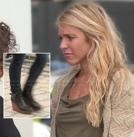Katie's wedged ankle boots on The Vineyard
