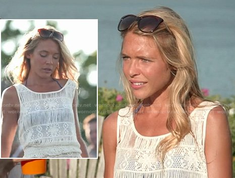 Katie's white crochet coverup top on The Vineyard