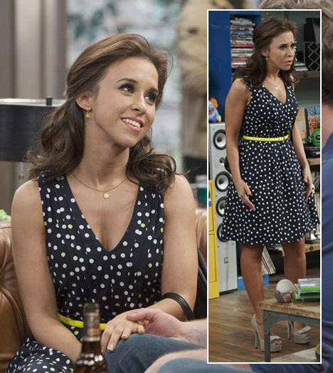 Amy (Lacey Chabert)'s polka dot dress and nude bow heels on Baby Daddy