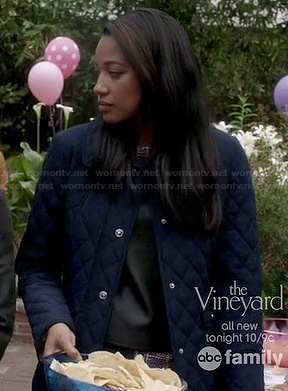 Lacey's navy blue quilted jacket on Twisted