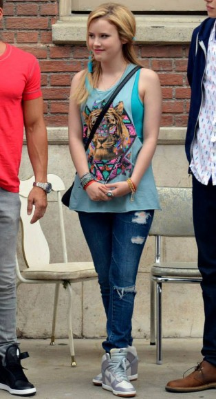 Lennox's blue tribal tiger face top on Melissa & Joey