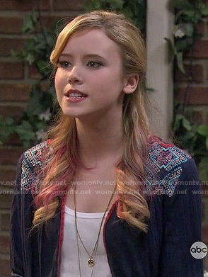 Lennox's navy blue embroidered cardigan on Melissa & Joey