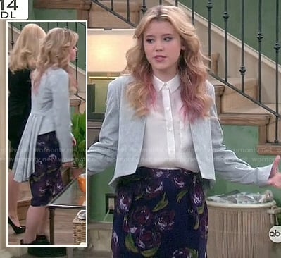 Lennox's grey blazer with long pleated tail and floral skirt on Melissa and Joey