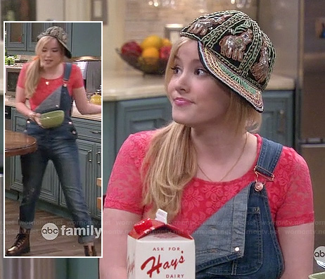 Lennox's pink lace crop top with denim overalls and embellished hat on Melissa and Joey