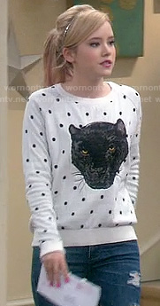 Lennox's polka dot panther sweater on Melissa & Joey