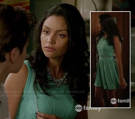 Lexi's mint green lace dress at the wedding on The Fosters