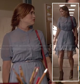 Lydia's blue high-low shirtdress on Teen Wolf