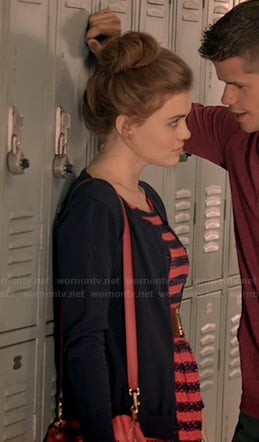 Lydia's coral and navy striped eyelet dress on Teen Wolf