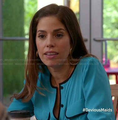 Marisol's blue blouse with contrast trim on Devious Maids