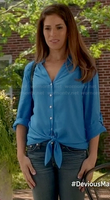 Marisol's turquoise button front top on Devious Maids