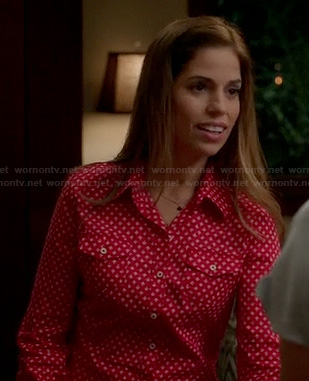 Marisol's red and white printed shirt on Devious Maids