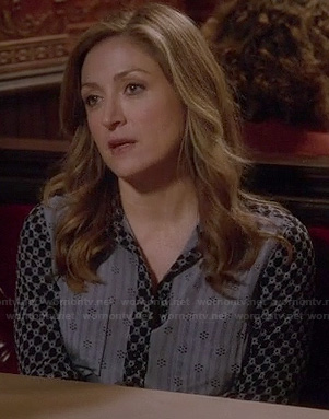 Maura's blue multi-print shirt on Rizzoli and Isles