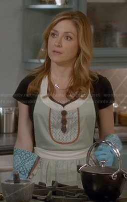 Maura's sage green button front apron on Rizzoli and Isles