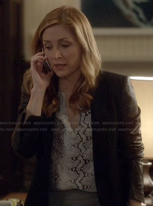 Maura's blazer with leather zip sleeves on Rizzoli and Isles