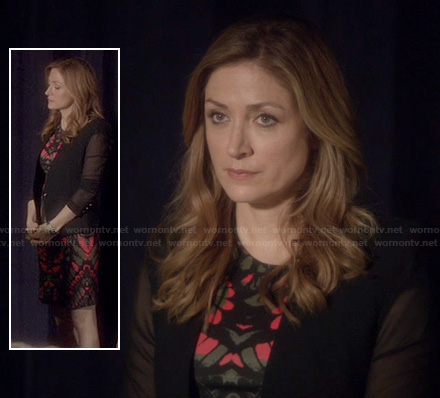 Maura's pink and black patterned dress and mesh sleeve blazer on Rizzoli and Isles