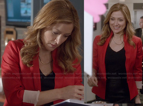 Maura's red blazer and curved bar necklace on Rizzoli and Isles