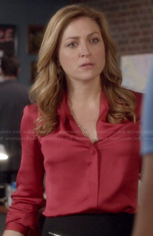 Maura's red satin blouse on Rizzoli and Isles