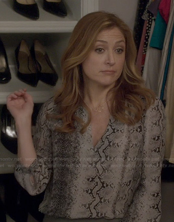 Maura's snake print v-neck blouse on Rizzoli and Isles