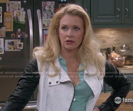 Melissa Joan Hart's white jacket with black leather sleeves on Melissa & Joey
