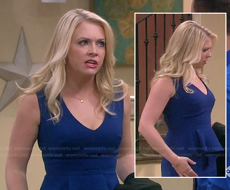Melissa's blue v-neck peplum dress on Melissa & Joey