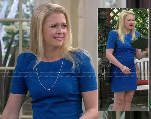 Mel's blue short sleeve mini dress on Melissa and Joey