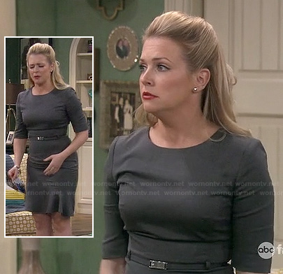 Melissa Joan Hart's grey trumpet hem dress on Melissa & Joey