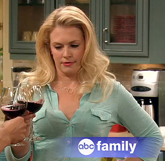 Melissa's light blue button front shirt on Melissa & Joey