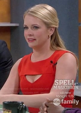 Melissa Joan Hart's red cutout dress on Melissa & Joey