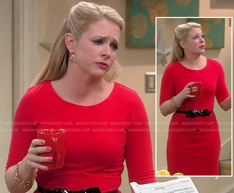 Mel's red elbow sleeve dress with black bow belt on Melissa & Joey