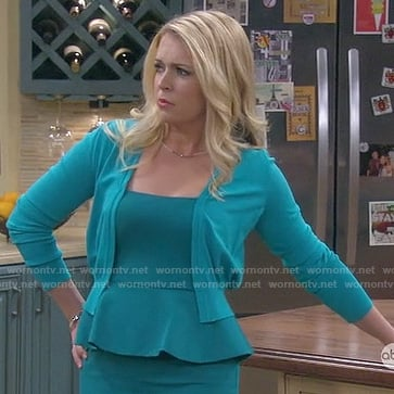 Mel's teal peplum dress on Melissa & Joey