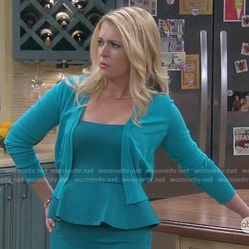 Mel's teal peplum dress on Melissa & Joey
