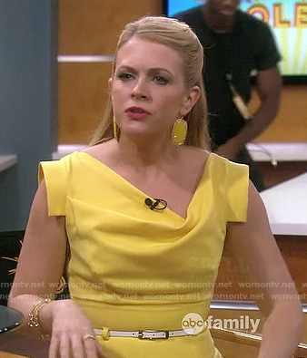 Melissa's yellow cowl neck dress and earrings on Melissa and Joey