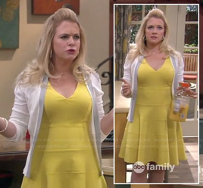 Mel's yellow flared bandage dress on Melissa and Joey