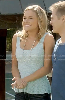 Nikki's mint green lace peplum top on Switched at Birth