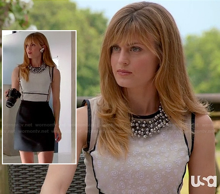 Paige's cream and black contrast dress and chunky beaded necklace on Royal Pains